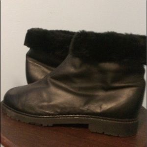 Black Leather Fur lined Boots